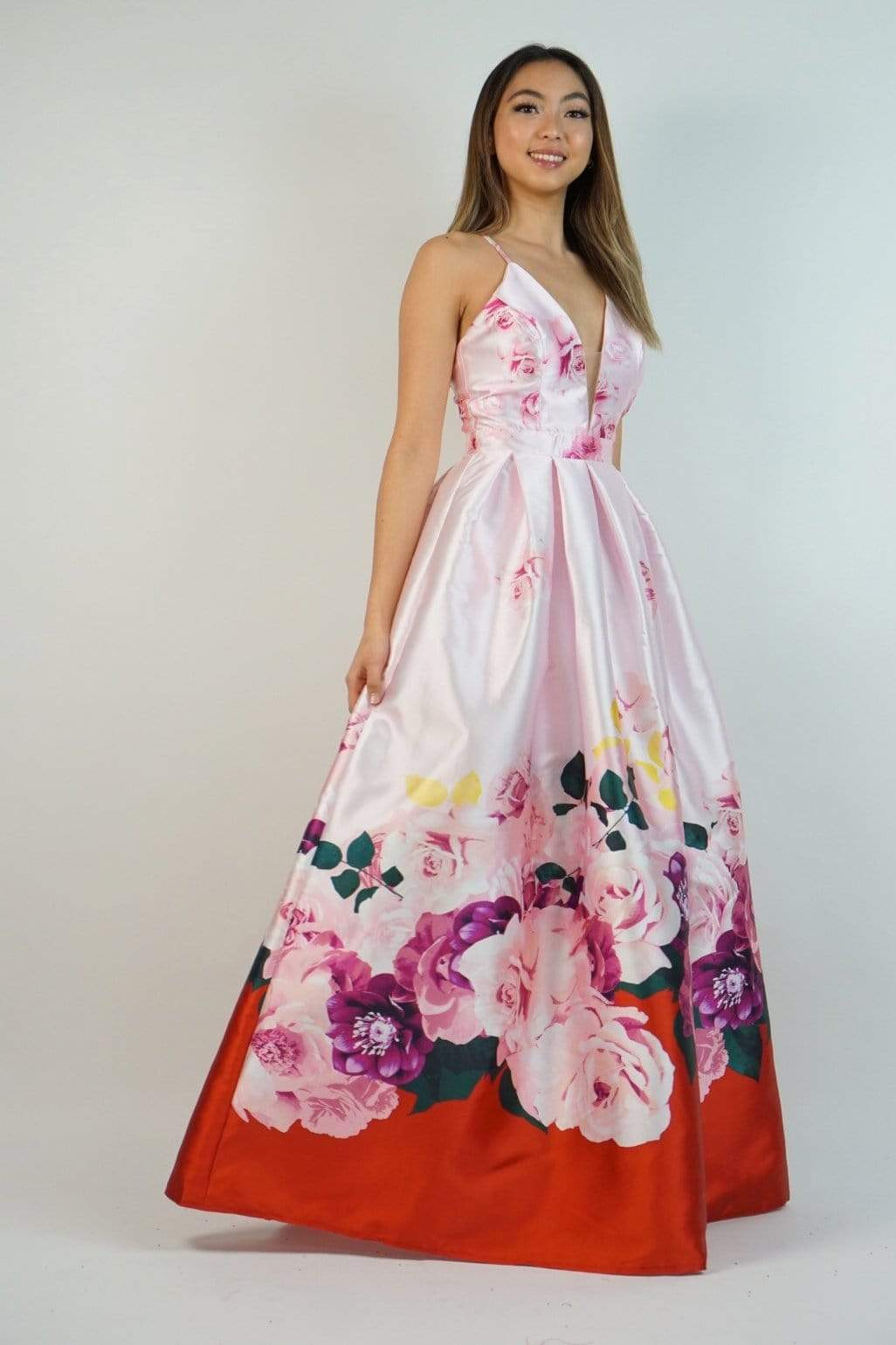GOWN Bold Floral Print Pocket Gown Red & Pink - Chloe Dao