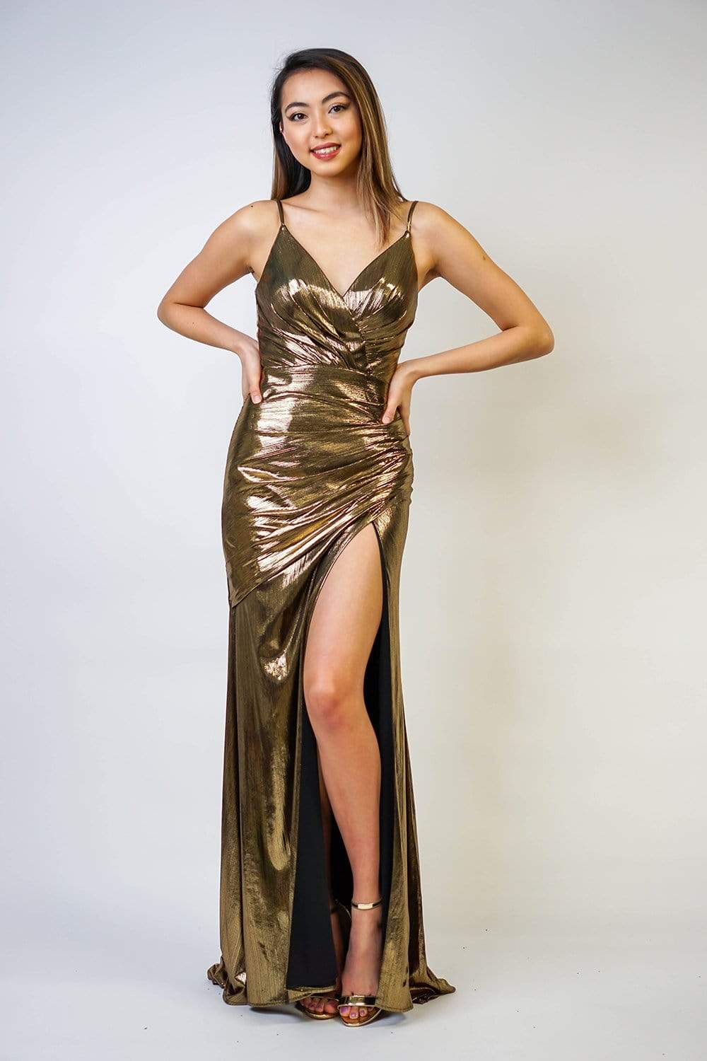 Gold Metallic Shiny Fitted Gown