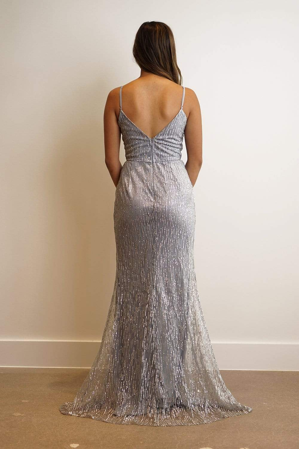 GOWN Icy Blue Strap Sequin Sweetheart Fitted Gown - Chloe Dao