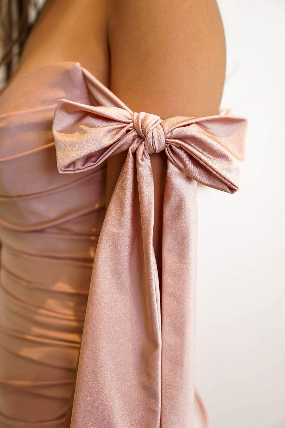 GOWN Mauve Off Shoulder Draped Goddess Fitted Gown - Chloe Dao