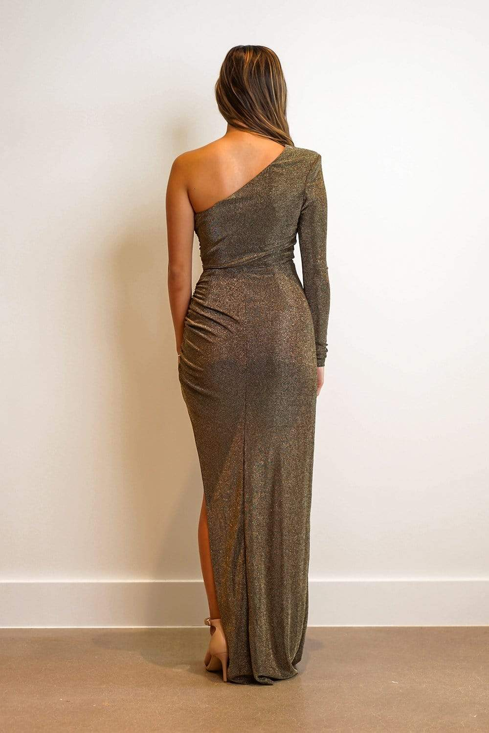 GOWN One Shoulder fitted Side Slit Dress Gold - Chloe Dao