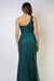 One Shoulder Wrapped Sequin Gown Emerald
