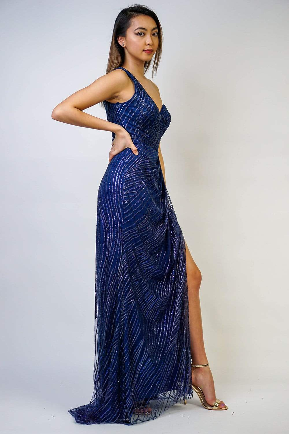 GOWN One Shoulder Wrapped Sequin Gown Navy - Chloe Dao