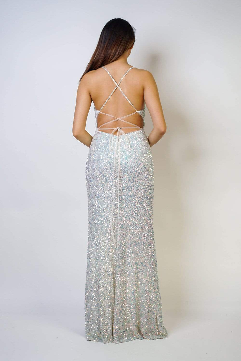 GOWN Opal Iridescent Sequin Fitted Gown - Chloe Dao