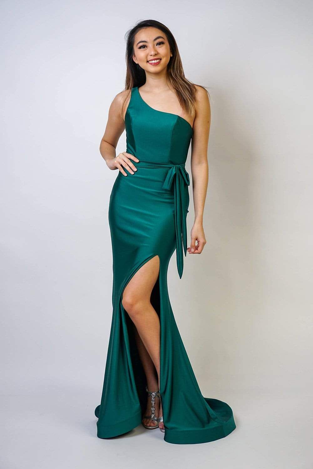 GOWN Sleek One Shoulder Green Gown - Chloe Dao