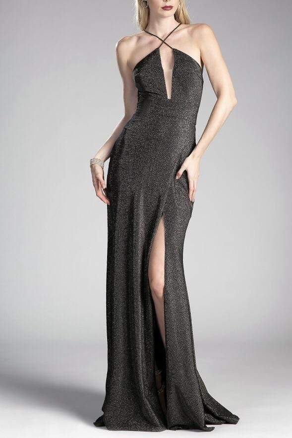 Fitted Metallic Gown Black/Gold
