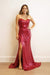 GOWN Strapless Sweetheart Drape Fitted Gown Magenta - Chloe Dao