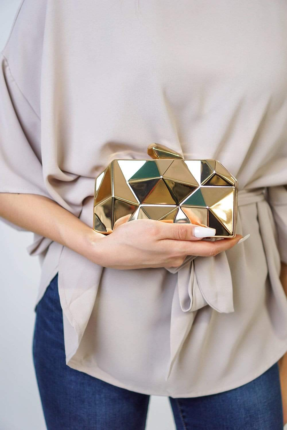 LA Jewelry Plaza HANDBAG Gold Abstract Pointed Metal Clutch