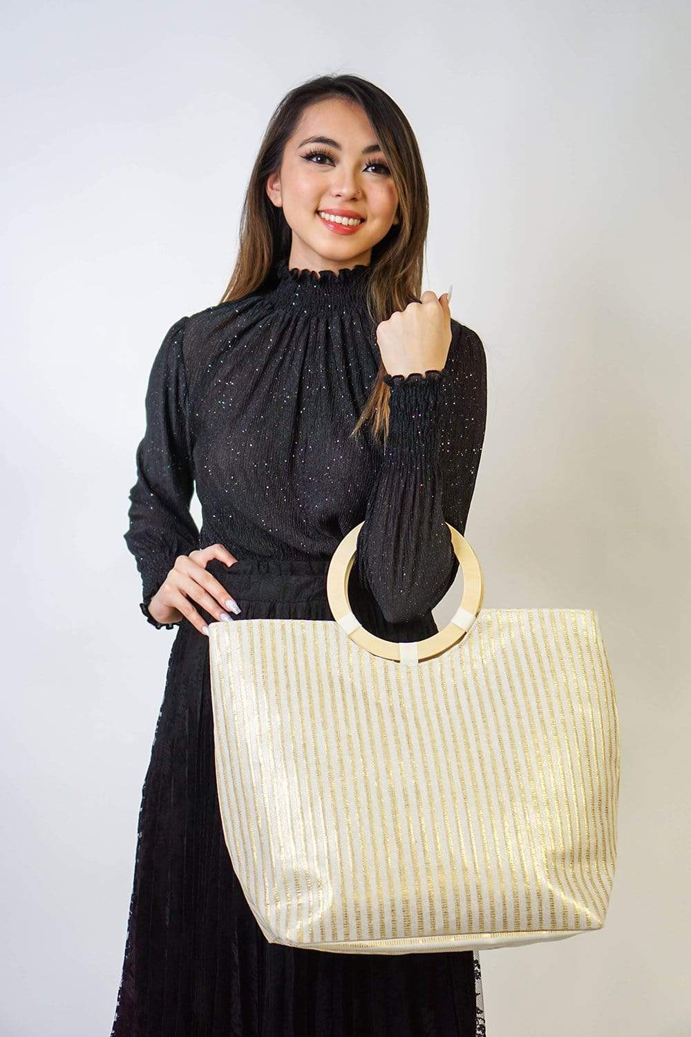 HANDBAG Shimmer Stripe Tote Bag in Gold - Chloe Dao
