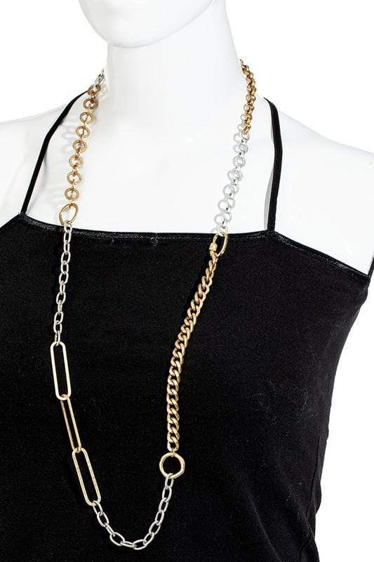 NECKLACE Multi Textured Chain Link Necklace - Chloe Dao