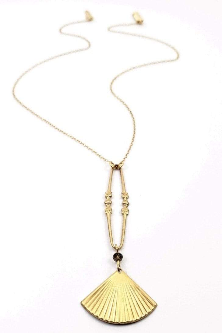 NECKLACE Vintage Brass Pendant Necklace - Chloe Dao