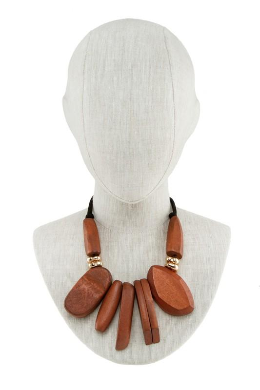 NECKLACE Wooden Pendant Linked Statement Necklace - Chloe Dao