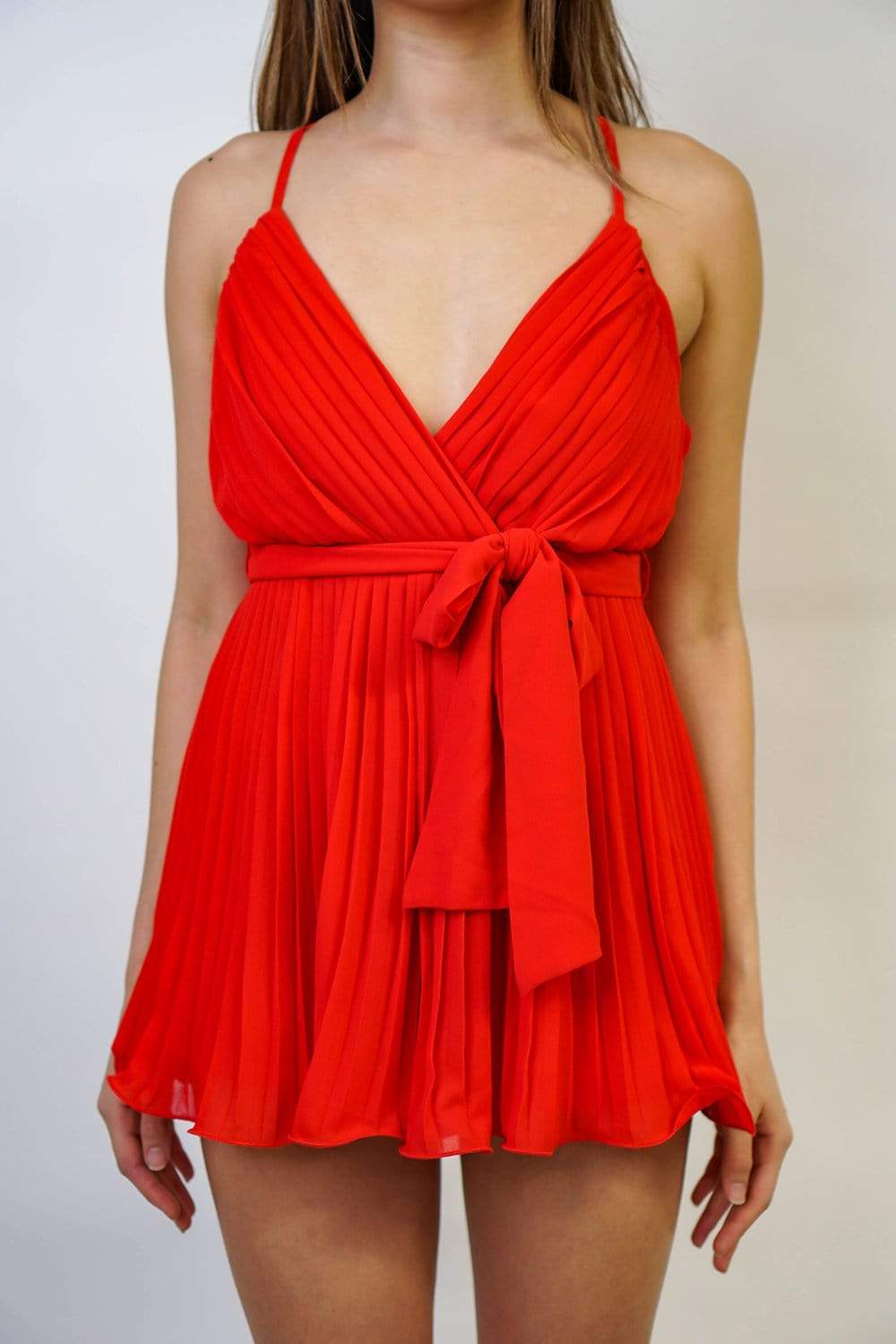 ROMPER Pleated Wire Romper Red - Chloe Dao