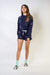 SHORTS Navy Terry Shorts With White Star Embroidery - Chloe Dao