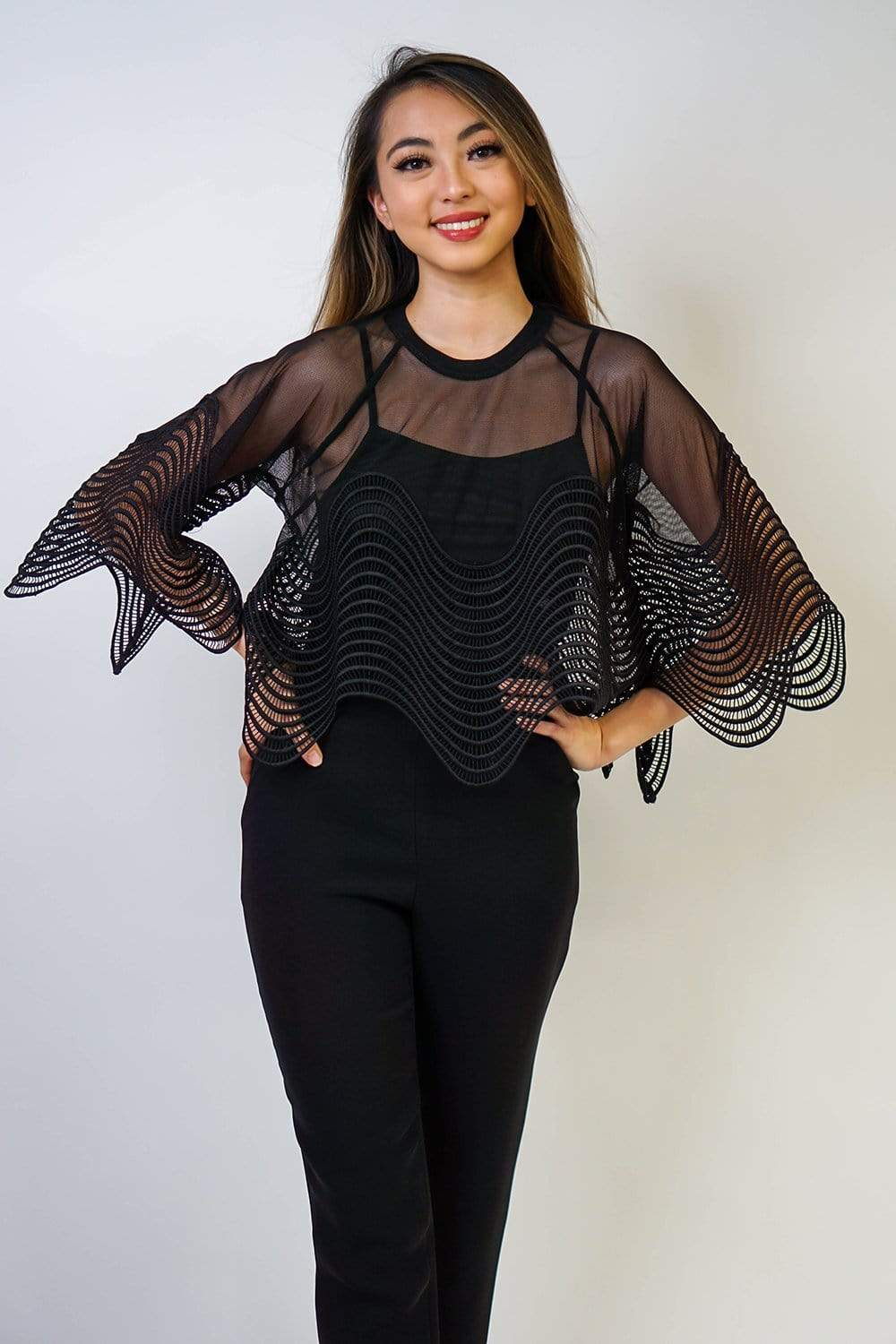 Gracia top Black Wavy Lace Mesh Top