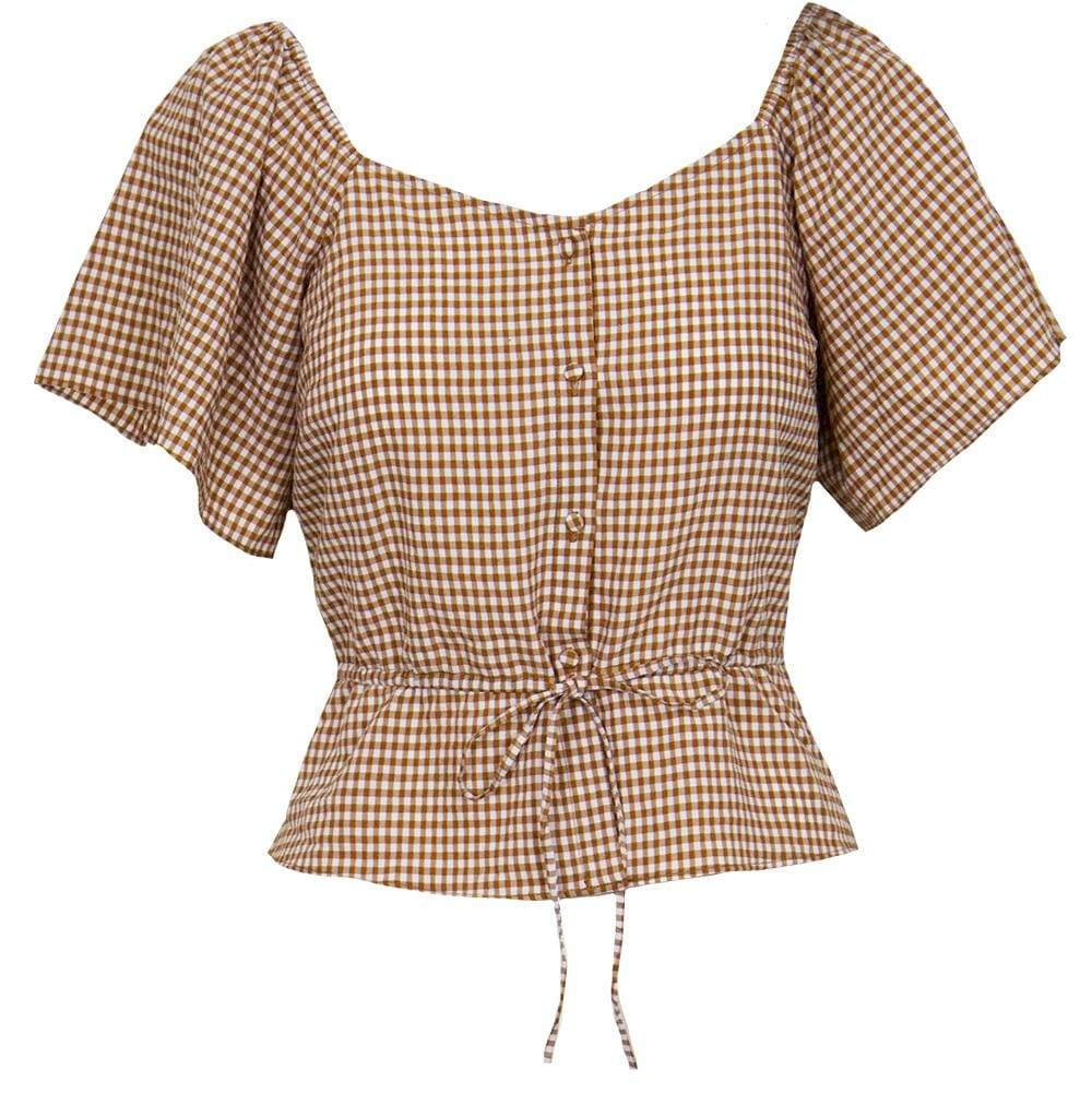TOP Brown Gingham Top - Chloe Dao