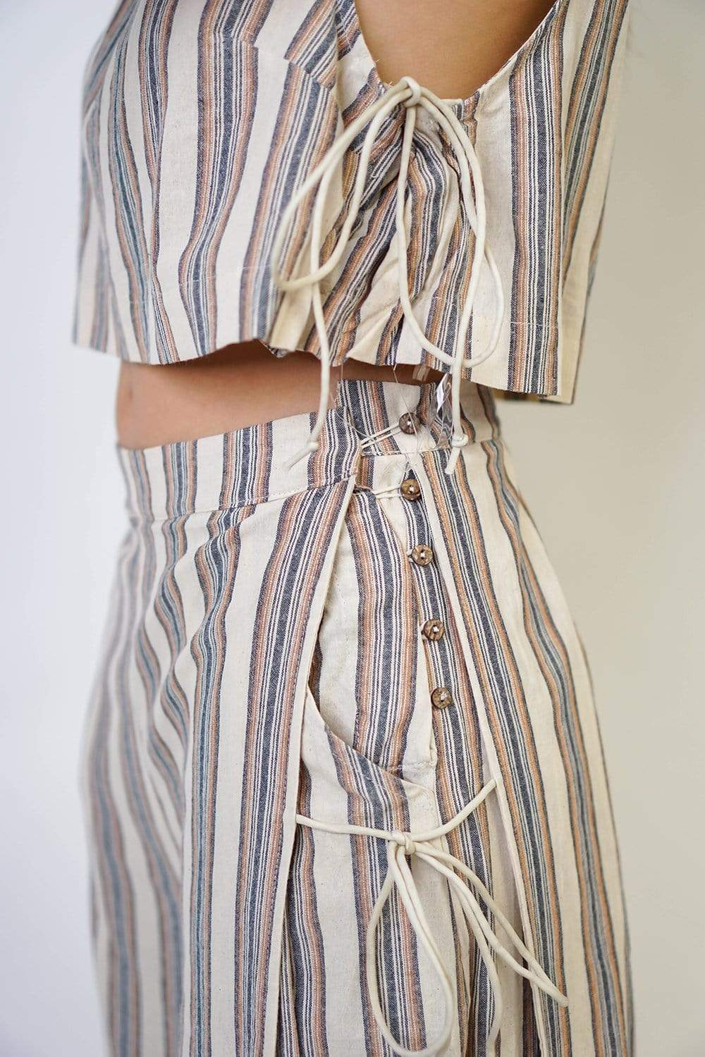 top Ivory Stripe Textured Top Set - Chloe Dao