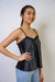 TOP Pleated Ribbon Cami in Charcoal - Chloe Dao