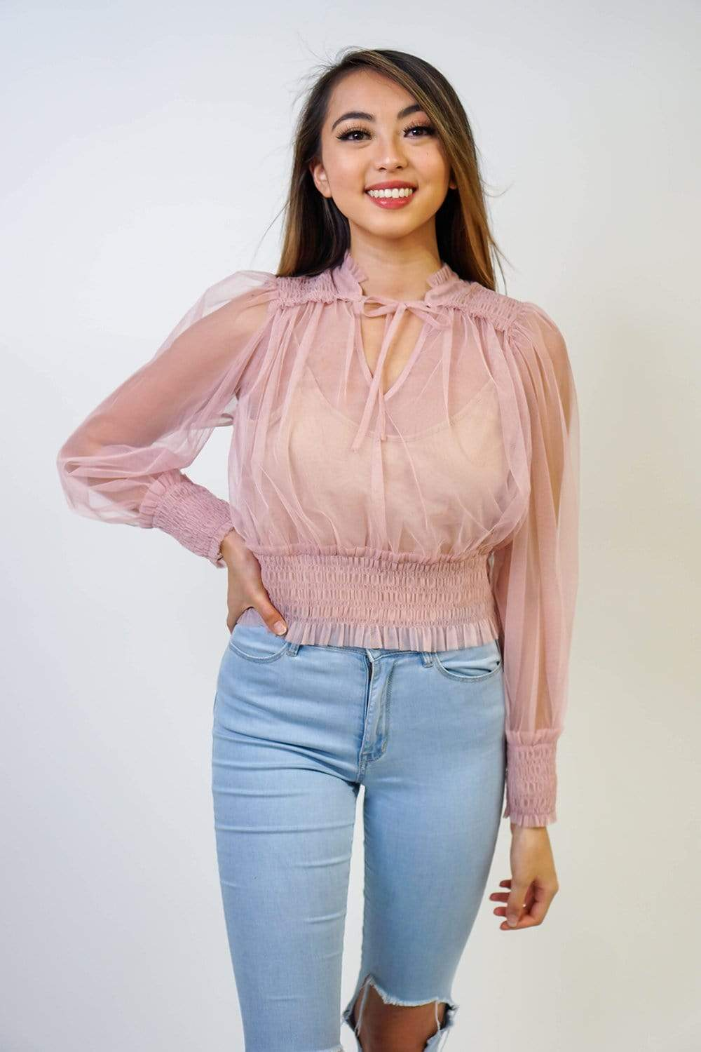 Idem Ditto TOP Rose Sheer Long Sleeve Top