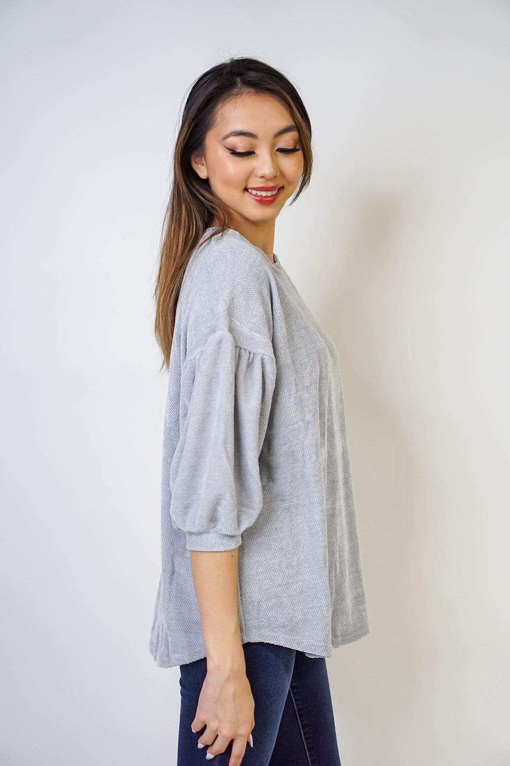 TOP Silver Soft Chenille Balloon Sleeve Top - Chloe Dao