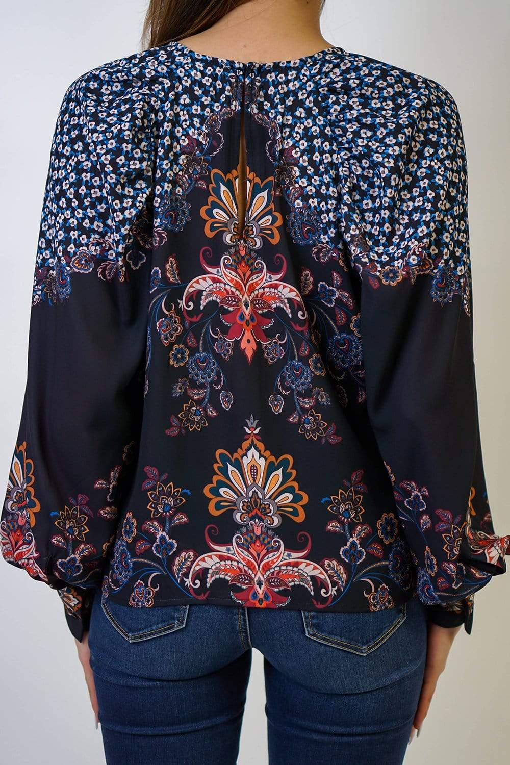 TOPS Black Paisley Floral Top - Chloe Dao