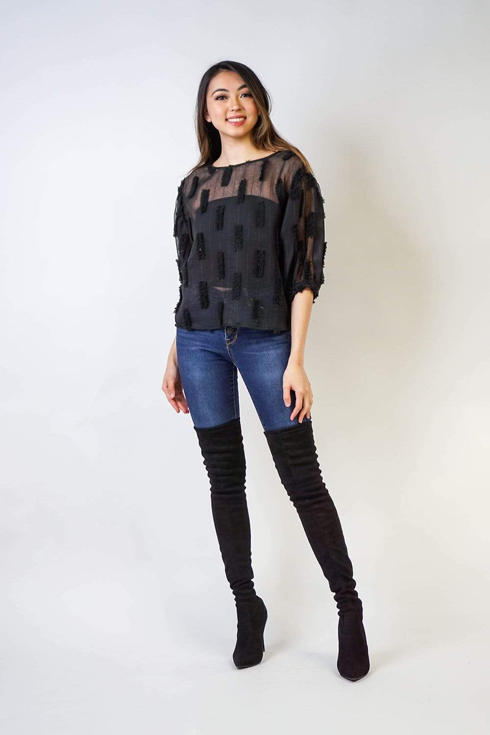 TOPS Black Textured Short Sleeve Blouse - Chloe Dao