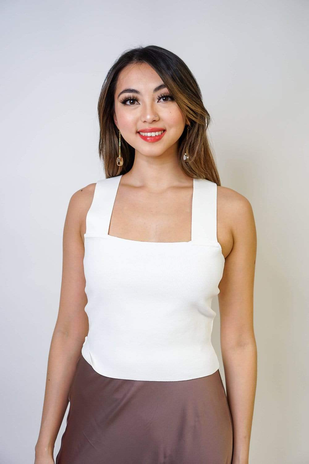 lucy paris TOPS Square Neck White Top