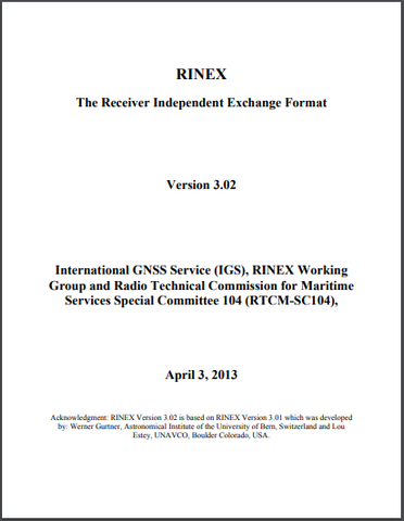_RINEX: The Receiver Independent Exchange Format Version 3.02, 3 April 2013