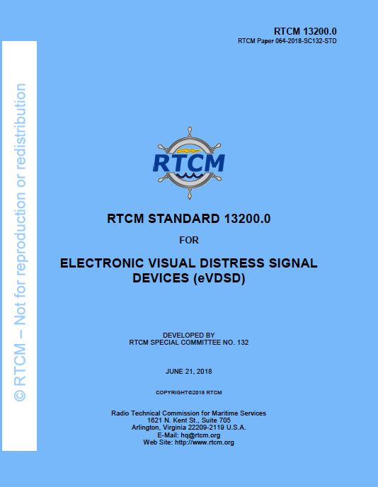 RTCM Standard 13200.0 for Electronic Visual Distress Signal Devices (eVDSD), June 21, 2018