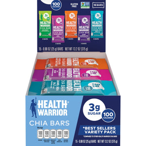Health Warrior Chia Bars, Best Seller's Variety Pack, 15 bars