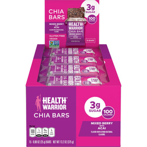 Health Warrior Chia Bars, Mixed Berry with Acai, 15 Bars