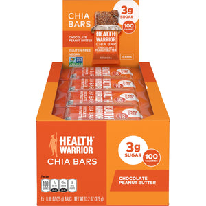 Health Warrior Chia Bars, Chocolate Peanut Butter, 15 Bars