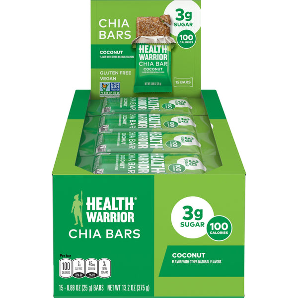 Health Warrior Chia Bars, Coconut, 15 Bars