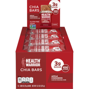 Health Warrior Chia Bars, Apple Cinnamon, 15 Bars