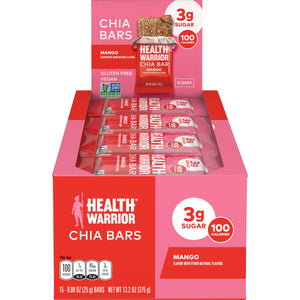 Health Warrior Chia Bars, Mango, 15 Bars