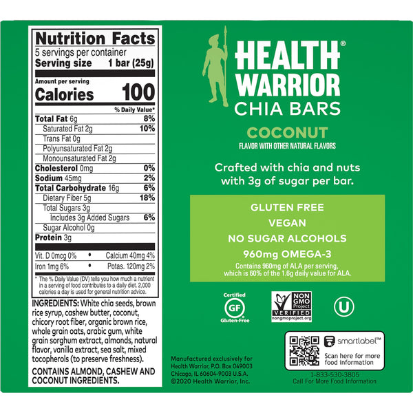 Health Warrior Chia Bars, Coconut, 5 Bars