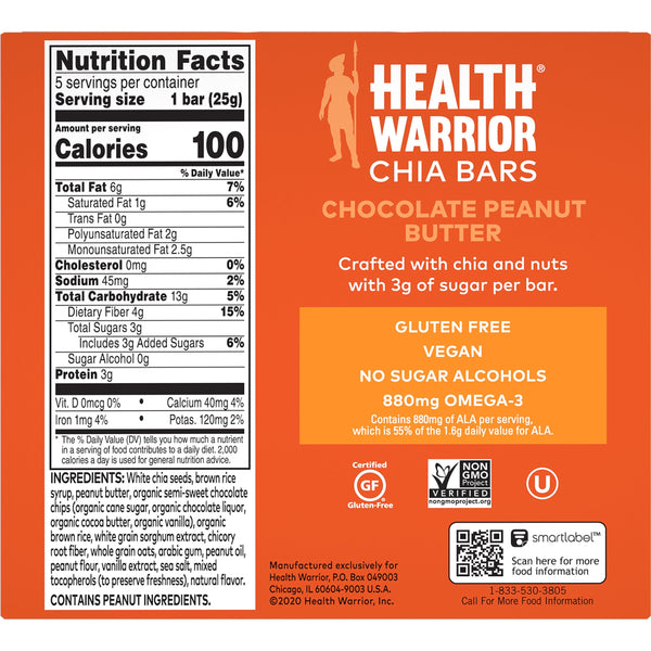 Health Warrior Chia Bars, Chocolate Peanut Butter, 5 Bars