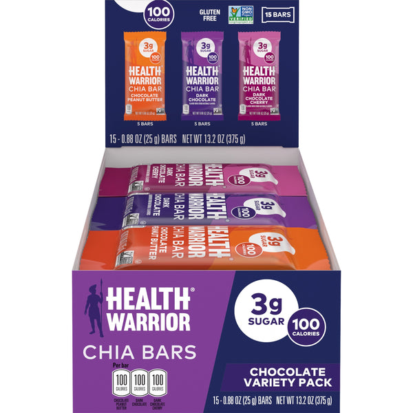 Health Warrior Chia Bars, Chocolate Variety Pack, 15 bars