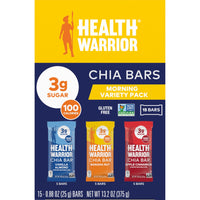 Health Warrior Chia Bars, Morning Variety Pack, 15 Bars