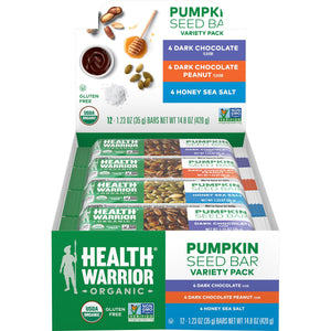 Health Warrior Pumpkin Seed Bars, Variety Pack, 12 Bars