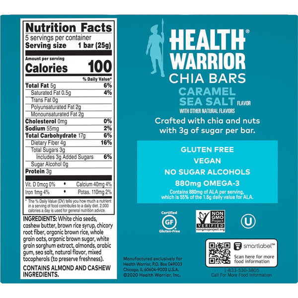 Health Warrior Chia Bars, Caramel Sea Salt, 5 Bars