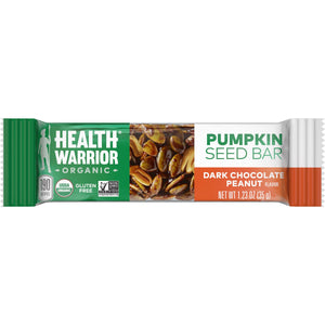 Health Warrior Pumpkin Seed Bars, Dark Chocolate Peanut, 12 Bars