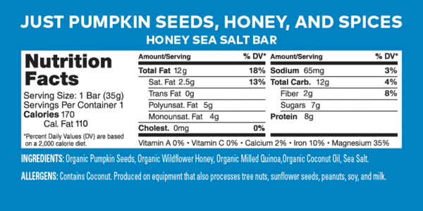 Health Warrior Pumpkin Seed Bars, Honey Sea Salt, 1 Bar