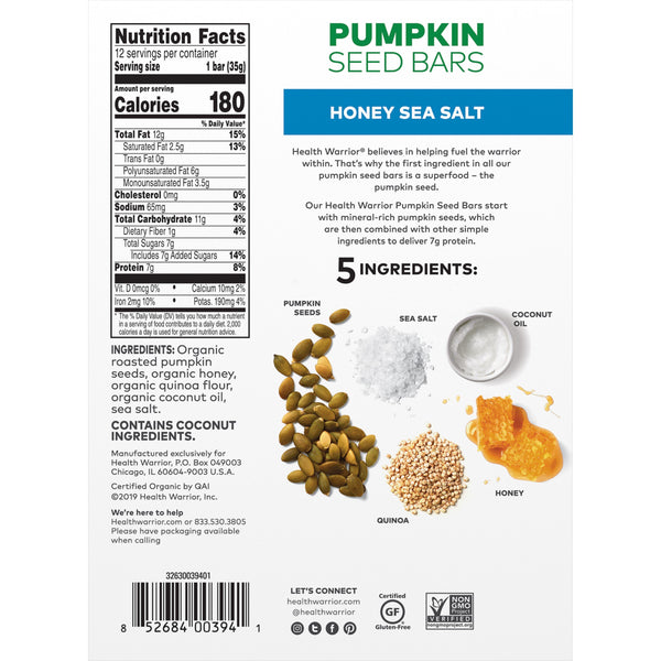 Health Warrior Pumpkin Seed Bars, Honey Sea Salt, 12 Bars