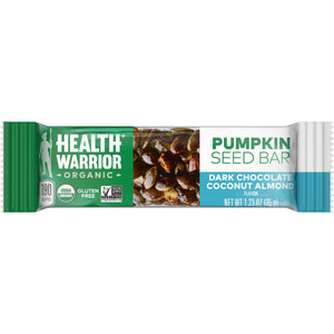 Health Warrior Pumpkin Seed Bars, Dark Chocolate Coconut Almond, 12 Bars