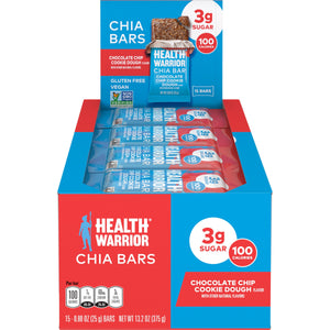 Health Warrior Chia Bars, Chocolate Chip Cookie Dough, 15 Bars