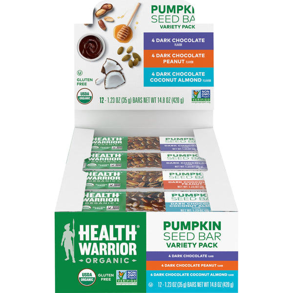 Health Warrior Pumpkin Seed Bar Chocolate Variety Pack, 12 Bars