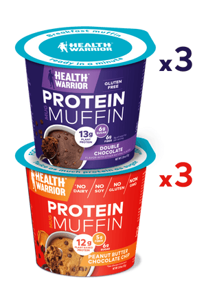 Health Warrior Mug Muffins, Chocolate Variety Pack, 6 Muffins