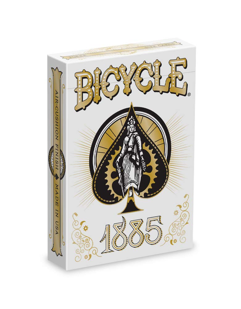 The Bicycle 1885 deck; comes in a white box with a female-presenting character and a gear inside of a spade shape.
