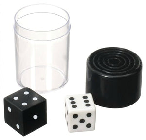 Two-inch clear plastic cylinder container with a black lid. Magnet underneath the lid allows the black dice cover to stick, dropping the white dice to the bottom once the container is shaken.